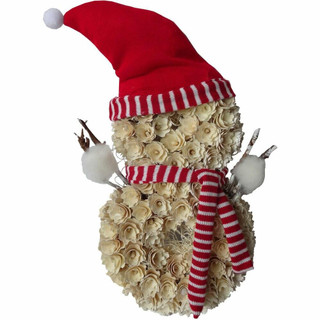 Fraser Hill Farm 25-In Snowman-Shaped Wreath with Red Hat and Striped Scarf, Festive Indoor Christmas Decoration, White