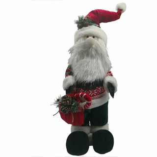 Fraser Hill Farm 32-In Plush Santa with Candy Cane, Festive Indoor Christmas Decoration