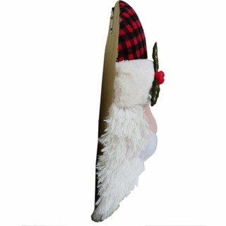 Fraser Hill Farm 18-In Hanging Santa with Plaid Hat and Glasses, Festive Indoor Christmas Decoration