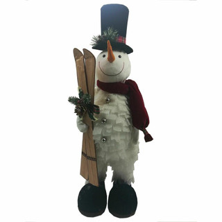 Fraser Hill Farm 30-In Snowman with Skis, Festive Indoor Christmas Decoration