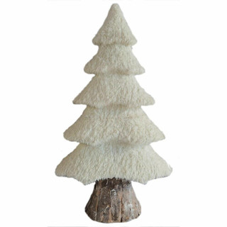 Fraser Hill Farm 44-In White Furry Tree with Faux-Bark Trunk, Festive Indoor Christmas Decoration