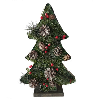Fraser Hill Farm 20-In Tall Tree-Shaped Metal Frame with Pinecones and Berries, Festive Indoor Christmas Decoration