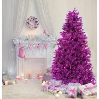 Fraser Hill Farm Pink Festive Tinsel Christmas Tree, Various Sizes and Lighting Options