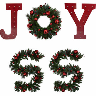 Fraser Hill Farm Christmas JOY 5-Piece Decorating Kit Pre-Lit Wreath, 2 Pre-Lit Garlands, plus J and Y Marquee Style LED Lights