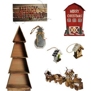 Fraser Hill Farm Woodland Christmas 7-Piece Decorating Kit Tree Shelf, Lighted Barn, Train, Wall Sign, Snowman, and 2 Birdhouse Ornaments