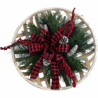 Fraser Hill Farm Farmhouse Christmas 5-Piece Decorating Kit Basket-Top Wreath, Joy Blocks, Tree Sign, Truck/Wagon, Reindeer/Snowflake Plaques