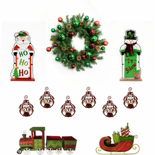 Fraser Hill Farm Bright Christmas 6-Piece Decorating Kit Wreath, Train, Sleigh, Lighted Ho Ho Ho, Lighted Let it Snow, Bejeweled Ornaments