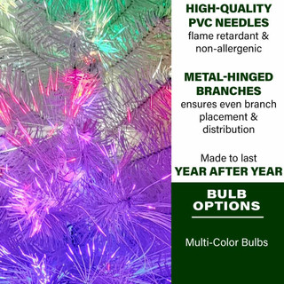 Fraser Hill Farm Indoor 2-Ft White Fiber Optic Prelit Christmas Tree in Decorative Pot for Tabletop, Festive LED Dancing Lights