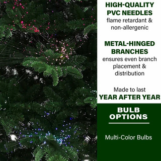 Fraser Hill Farm Indoor 5-Ft Green Fiber Optic Prelit Christmas Tree in Decorative Pot with Festive LED Fairy Lights Effect