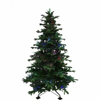 Fraser Hill Farm Indoor or Outdoor 7.5-Ft Green Fiber Optic Christmas Tree with Festive LED Fairy Lights Effect