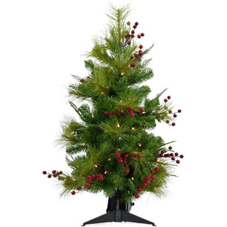 Fraser Hill Farm 4-Ft Newberry Pine Artificial Tree with LED String Lights, Various Lighting Options