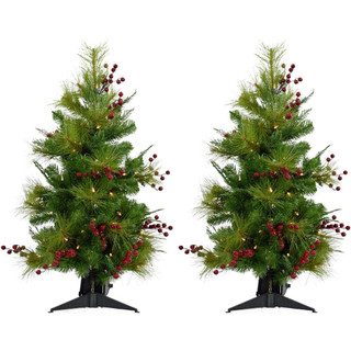 Fraser Hill Farm Set of 2, 4-Ft Newberry Pine Artificial Tree, Various Lighting Options