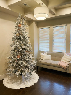 Fraser Hill Farm Mountain Pine Flocked Christmas Tree, Various Lighting and Size 10 ft to 12 ft Options