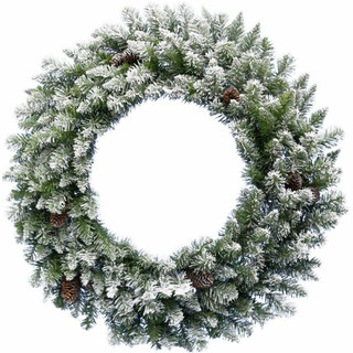 Frosted Pine Wreath Door Hanging with Pinecones, Various Lighting and Size Options