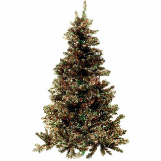 Fraser Hill Farm Red, Green, and Gold Festive Tinsel Christmas Tree, Various Lighting and Size Options