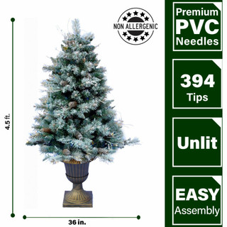 Fraser Hill Farm Set of 2, 4.5-Ft Frosted Porch Accent Tree with Pinecone Accents in Decorative Pot, Various Lighting Options