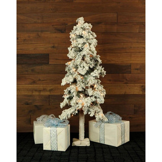 Fraser Hill Farm Set of 3 Snowy Alpine Trees with Clear Lights 2-Ft, 3-Ft, and 4-Ft