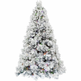 Fraser Hill Farm Sugar Hill Snowy Christmas Tree with Pinecones and Multi-Color LED Lighting, Various Size Options