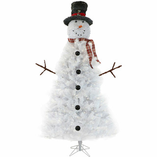 Fraser Hill Farm 7.5-Ft White Snowman Christmas Tree with Clear LED Lights