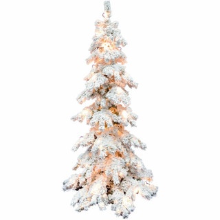 Fraser Hill Farm 7.5-ft Elk Mountain Snow Flocked Christmas Tree with Clear LED Lighting, Various Stand Options