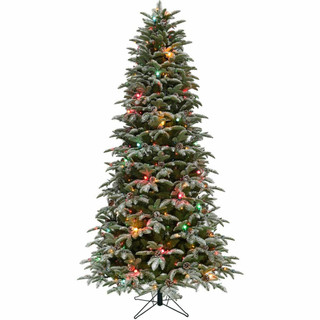 Fraser Hill Farm 7.5-ft Eagle Rock Tree with Rotating Stand and Multi Colored C7 Twinkle Lights, Various Stand Options