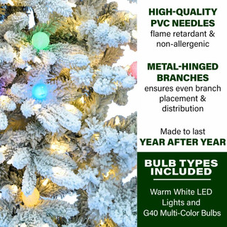 Fraser Hill Farm Snowy Christmas Half Tree with Flock, Clear LED String Lighting, and Frosted G40 Multicolored Lighting, Various Size Options