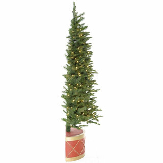 Fraser Hill Farm Green Christmas Half Tree and Drum Pot with Warm White LED Lighting, Various Size Options