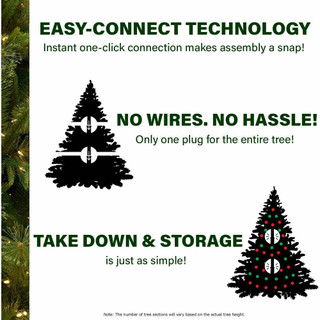 Fraser Hill Farm Pacific Pine Green Christmas Tree with Color Changing LED Rice Lights, Various Size Options