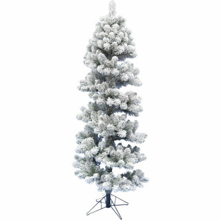 Fraser Hill Farm Snowy Spiral Porch Tree in Metal Base, Various Lighting and Size Options