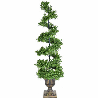 Fraser Hill Farm 5-Ft Boxwood Spiral Porch Accent Tree in a Gold Urn Pot, Various Lighting Options