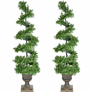 Fraser Hill Farm 5-Ft Set of 2 Boxwood Spiral Porch Accent Trees in Gold Urn Pot, various Lighting Options