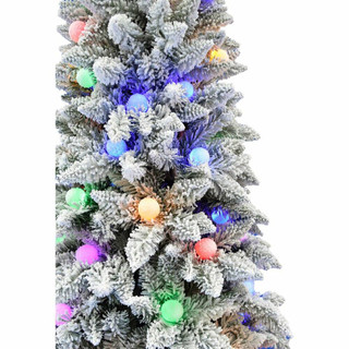 Fraser Hill Farm White Tail Pine Snow Flocked Christmas Tree with Colorful G40 Bulbs, Various Size Options