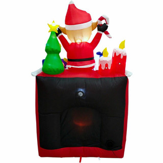 Fraser Hill Farm 6.5-Ft Tall Inflatable Elf Sitting on a Fireplace with LED Flickering Firelight, Holiday Winter Blow-Up