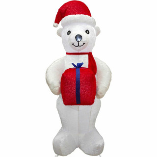 Fraser Hill Farm 8-Ft Tall Inflatable Plush Polar Bear Holding a Gift with LED Lights, Holiday Winter Blow-Up