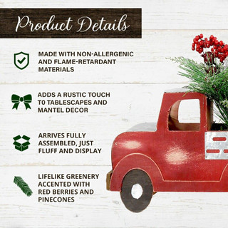 Fraser Hill Farm 20-inch Christmas Farmhouse Truck with Pine, Berries, and Pinecones