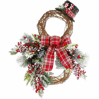 Fraser Hill Farm 22-inch Snowman Christmas Door Hanging with Berries, Pine Branches, Burlap Bow and Top Hat