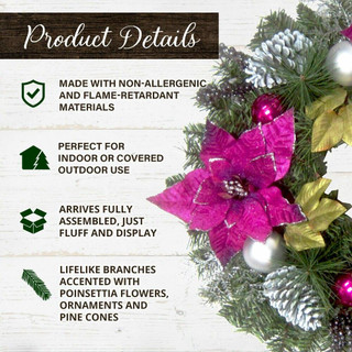 Fraser Hill Farm 24-in Christmas Wreath with Faux Poinsettia Blooms, Ornaments, and Pinecones
