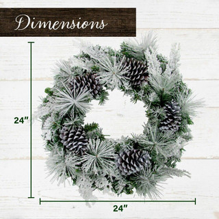 Fraser Hill Farm 24-in Christmas Snow Flocked Wreath with Oversized Pinecones, Various Lighting Options