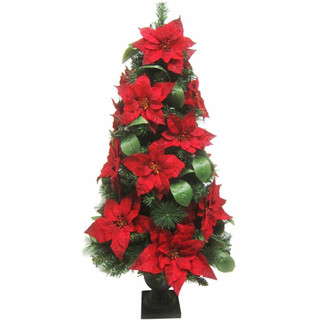 Fraser Hill Farm 4-Ft Christmas Porch Tree with Velvet Poinsettia Blooms and Leaf Accents, Various Lighting Options
