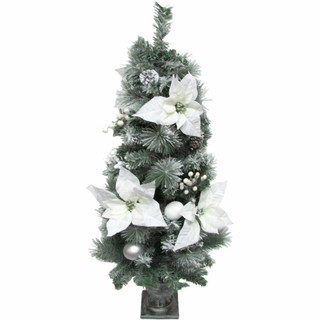 Fraser Hill Farm 4-Ft Christmas Frost Covered Porch Tree, White Poinsettia Blooms, Ornaments, and Pinecones, Various Lighting Options