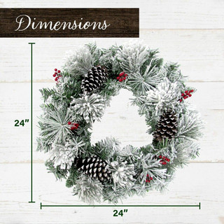 Fraser Hill Farm 24-in Christmas Snow Covered Wreath with Pinecones and Berries, Various Lighting Options