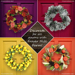 Fraser Hill Farm 24-in Christmas Wreath with a Poinsettia Bloom, Bow, and Merry Christmas Wooden Sign