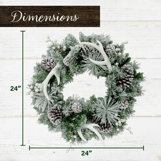 Fraser Hill Farm 24-in Christmas Frosted Wreath with Pinecones, Berries, and Antler Decorations
