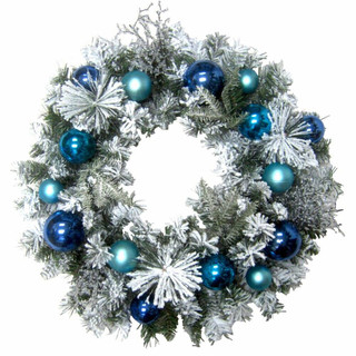 Fraser Hill Farm 24-in Christmas Snow Covered Wreath with Multi-Hued Blue Ornaments