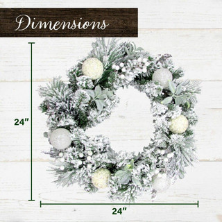 Fraser Hill Farm 24-in Christmas Snow Covered Wreath with Glitter Ornaments, Leaves and Berries