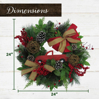 Fraser Hill Farm 24-in Christmas Wreath with Pinecones, Burlap Bows and Wooden Truck Decoration