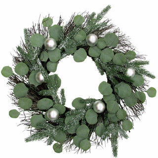 Fraser Hill Farm 24-in Christmas Eucalyptus Wreath with Ornaments and Frosted Pine Branches