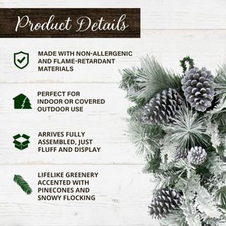 Fraser Hill Farm 30-in Christmas Snow Flocked Teardrop Door Swag with Pinecones
