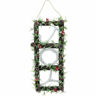Fraser Hill Farm 33-in Christmas Christmas JOY Door Hanging with Berries and Pinecones on Grapevine Frame