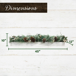 Fraser Hill Farm 42-inch 5-Candle Holder Centerpiece with Greenery, Pinecones and Antlers in Wooden Box